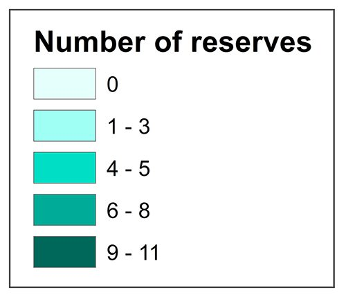 Reserves per local authority legend
