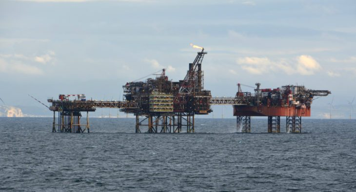 An oil platform in the Irish Sea.