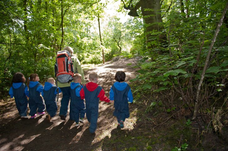 Nursery School children exploring their local woods