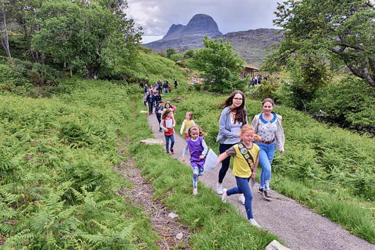 Assynt Brownies and Rainbows and Lochinver Wildlife Watch lead the first guided walk of the nature trail. ©Chris Puddephatt