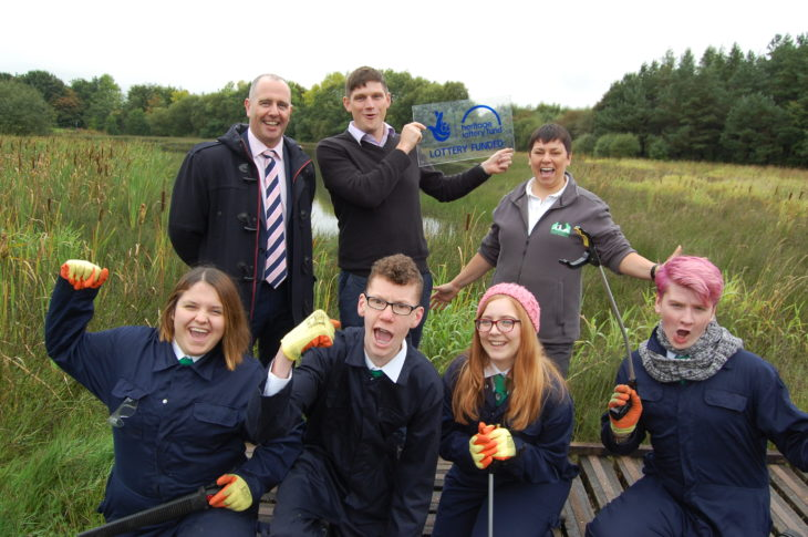 Students from St Maurice's High School help to celebrate the announcement © Scottish Wildlife Trust