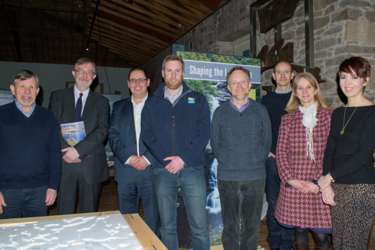 Launch of Shaping the Landscape. L-R: Graeme U'ren (Falls of Clyde Group), Diarmad Campbell (British Geological Survey), Scott McAuley (New Lanark Trust), Ewan Bachell (CAVLP), Paul O'Sullivan (CMC Associates), Russell Eggleton (Abound Design & Interpretation Ltd), Sarah Arkley (British Geological Survey), Jane Masters (New Lanark Trust)