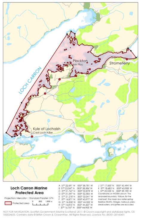 Map of the proposed Loch Carron MPA © Crown Copyright