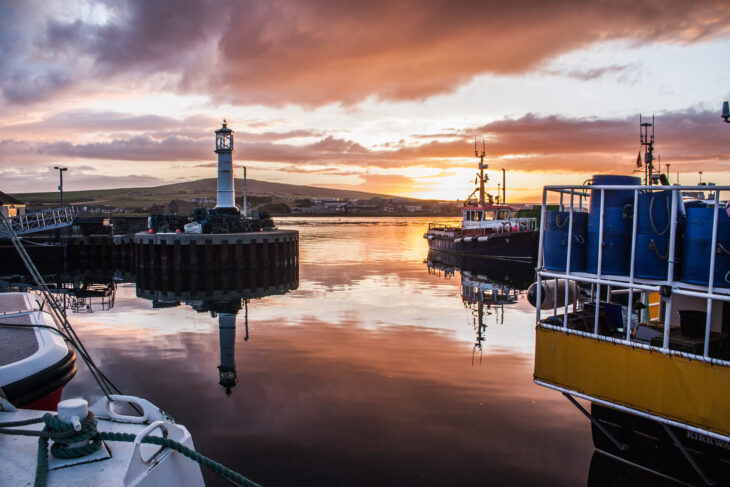 Kirkwall Harbour at sunset. © Shadowgate