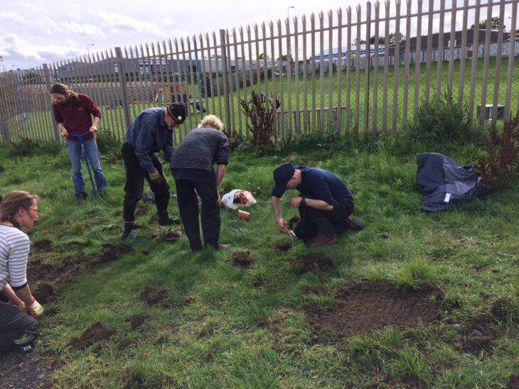 Volunteers planting a range of wildflowers at Seafield - the City of Edinburgh Council has stopped mowing this area of amenity grassland in partnership with the local community. © Leonie Alexander / RGBE