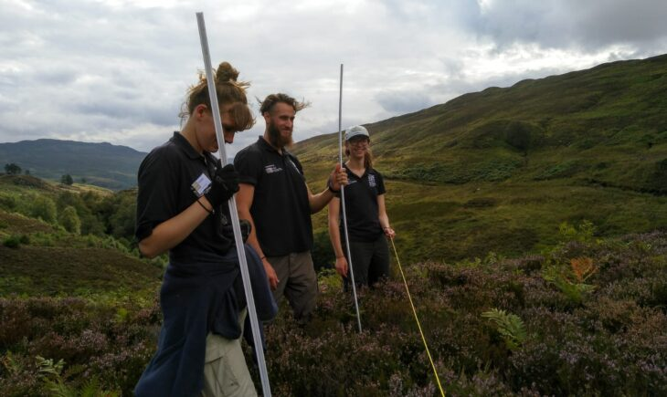 The Perthshire ranger team surveying for natural tree regeneration at Dùn Coillich community woodland © Sara Rasmussen