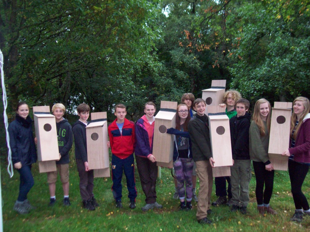 Pitlochry High Junior Rangers with  Goldeneye nest boxes they made