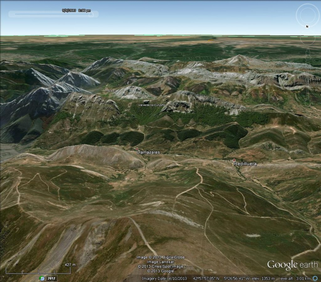 The Cantabrian Mountains in Google Earth