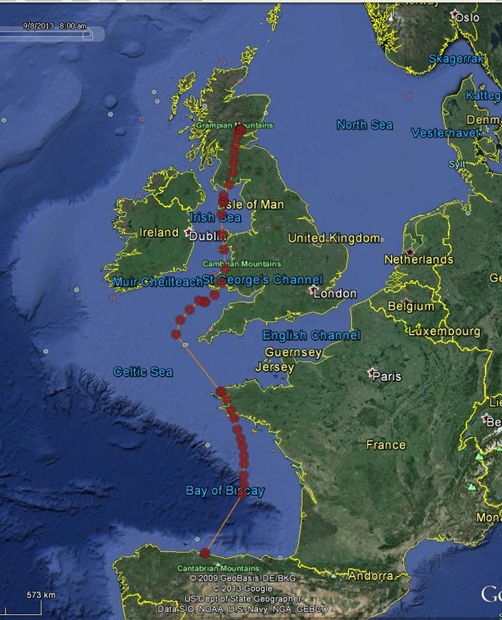 YZ Migration route up to 7am 8 Sept 2013