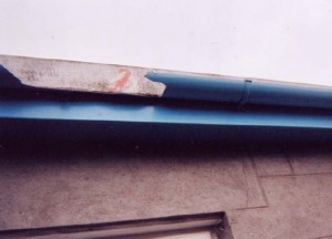 The damaged gutter