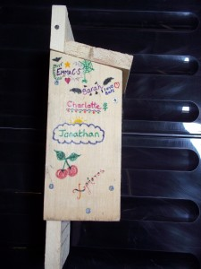 An example of a decorated bat box from our event