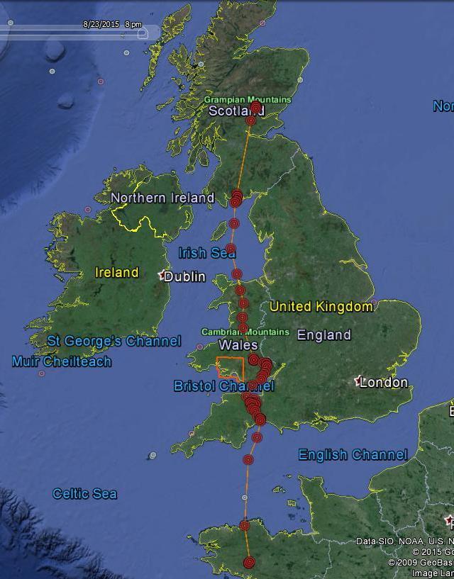 FR3's progress on its first migration © Scottish Wildlife Trust