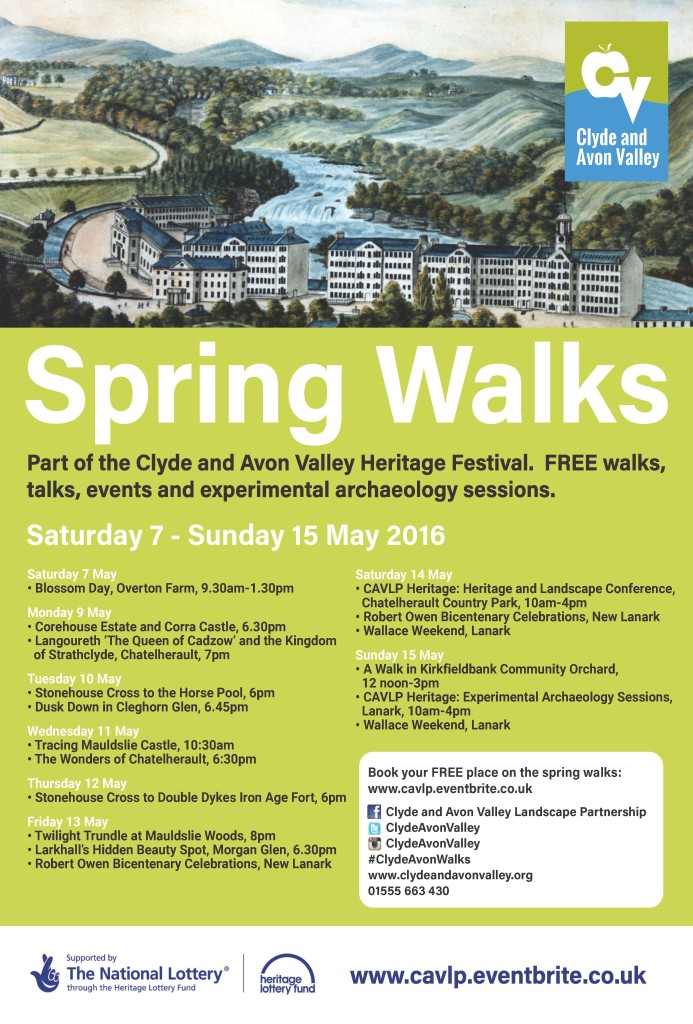 Spring Walks Poster (c) Clyde and Avon Valley Landscape Partnership