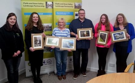 Spring winners collect their prizes, (L-R) Sarah O'Sullivan, CAVLP Communications Officer, Charlotte Edgar, Alison Alder, Bryan Frame, Lucy West, Susan West (c) Clyde and Avon Valley  Landscape Partnership